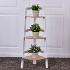 3 Tier Wood Corner Bookcase Shelf Wall Bookshelf Display Stand Ladder Shelf