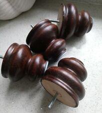 4 Wooden Bun / Ball Feet For Sofa or Settee