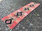 Turkish handmade rug, Wool rug, Carpet, Vintage runner rug   2,8 x 10, ft