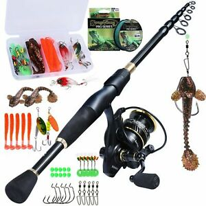 Telescopic Fishing Rod And Reel Combo Set Spinning Travel Pole Line Lure Hooks