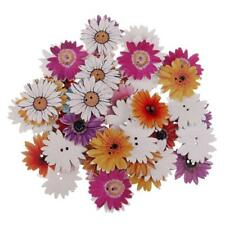 50pcs 25mm Daisy Flower Wooden 2-holes Buttons for Art Crafts Scrapbooking
