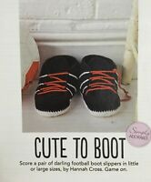 CROCHET PATTERN Baby & Adults Football Slippers Laces Ladies Mens Sirdar PATTERN