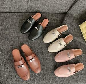 Women's Genuine Leather Mules Walking Slippers Flats Shoes Metal Backless Shoes
