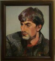 "Linda Kolar SIGNED Oil Painting, ""Ayeau"" Male Figural, 15"" x 17"", Framed, ORIG."
