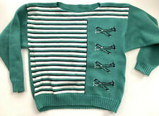 Vintage Teal Green Acrylic Boatneck Sweater AIRPLANES B&W Stripes boxy Oversized