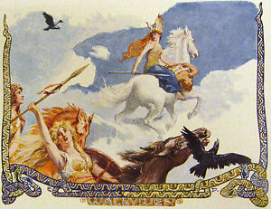 Ride Of The Valkyrie Viking Painting Myth Odin Valhalla Real Canvas Art Print