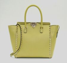 $2695 Valentino Garavani Neon Leather Rockstud Trapeze Bag