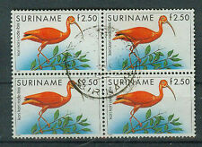 Suriname Briefmarken 1985 Vögel 4er Block Mi 1148
