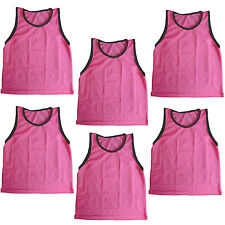 6 Pack Youth Girls Pink Scrimmage Vests Pinnies for Team Sports-Soccer, Softball