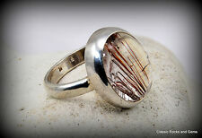 Handmade 925 Silver Ring with Red and Silver Rutile in Quartz Edelsteinring
