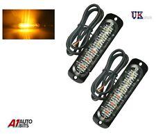 2 12/24v 6 LED Orange Amber Light Lamps Recovery Flashing Breakdown Strobe Grill