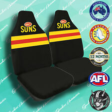 NEW! GOLD COAST SUNS FRONT CAR SEAT COVERS, OFFICIAL AFL, AIRBAG COMPATIBLE