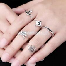 5 Skull Rudder Anchor Stack Urban Above Knuckle Top Finger Midi Ring Jewelry