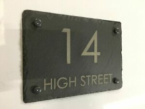 Large Rustic Slate House Gate Sign Plaque Door Number Personalised Name Plate