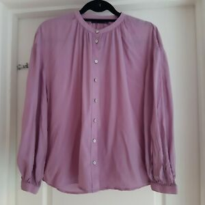 Marks And Spencer Size 12 Pink Long Sleeve Button Down Blouse