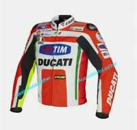 DUCATI MOTORBIKE MOTORCYCLE COWHIDE LEATHER ARMOURED BIKERS RACING JACKET