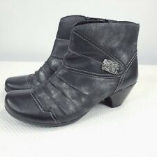 Remonte Ankle Boots Black Leather Booties EU 38 / US 7 Cap Toe Silver Accents