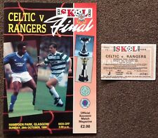 More details for the skol cup final 1990 celtic v rangers match programme and used ticket stub