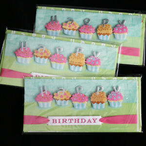 NEW Handcrafted Pop up Cupcake BIRTHDAY CARD+Envelope Set 3