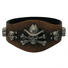 Cowboy Skull Studded Brown Leather Cuff Bracelet