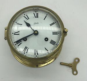 Vtg Schatz Germany Brass Bulkhead Clock with Key Works