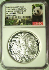 2017(Y) China Panda 62g Silver High Relief Rooster Proof Medal  NGC PF 70 Pop 67