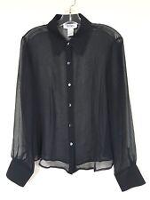 Bob Mackie Studio Womens Size 12 Blouse 100% Silk Black Sheer