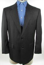 Hickey Freeman Boardroom Chalkline Pinstripe Black Wool Suit Jacket Coat  EUC