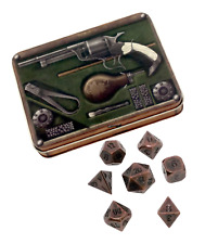 Gunslinger's Kit with Gunmetal Brass Color with Black Numbers Metal Dice
