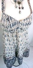 American Eagle Dress Size 2 Small Boho Navy Blue Floral Halter Sun Womens S