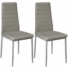 2 Modern Dining Chairs Dining Room Chair Table Faux Leather Furniture Cozy Grey
