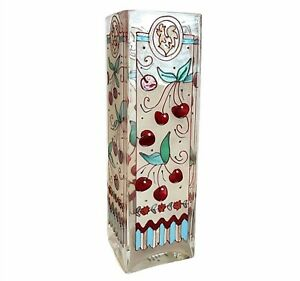 """JOAN BAKER DESIGNS Hand Painted Vase Stained Glass style with Cherries 10"""""""