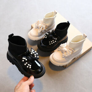 Kids Girls Boots Winter Ankle Low Heel Flat Bow Chelsea Shoes Toddler Dress Pump