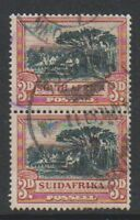 South Africa - 1931, 3d Black & Red - Wmk Inv - Vertical Pair - G/U - SG 45aw