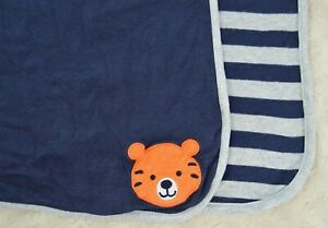 Just One You by Carter's Tiger Baby Blanket Blue Gray Stripes Orange Face Lovey