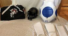 Taekwondo / Karate Sparring Gear, Padding, Helmet, Plus Bag, Size M Child Medium