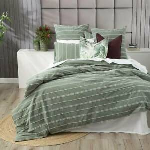 Hudson Vintage Washed Cotton Chenille Sage Quilt Cover Set by Renee Taylor