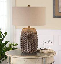 New Rust Brown Glaze Textured Ceramic Table Lamp Beige Linen Shade Desk Light