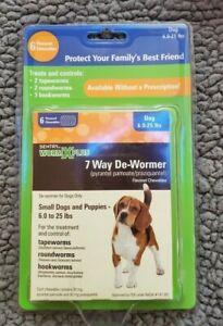 7 Way Dog Wormer, Tapeworms, Roundworms, Hookworms Small Dog 6-25lbs EXP 4/23
