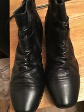 M&S BLACK LEATHER WIDE FIT COMFORT BOOTS. SIZE 5.5 Rrp£59