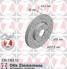Disque de frein avant ZIMMERMANN PERCE 230.2365.52 FIAT QUBO 225 1.3 D Multijet