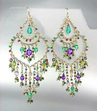 GORGEOUS Purple Olive Green Aqua Blue Crystals Beads Gold Chandelier Earrings CE