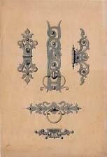 Acquerello 1909 ornata-lavori in metallo-FERRAMENTA-BATTENTE BATTIPORTA-cerniere