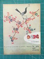 133 PUBLICITE ANCIENNE 1960 34x25cm Bonbons Galéjades la pie qui chante