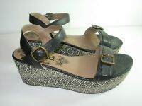 WOMENS BLACK PLATFORM CAREER CASUAL COMFORT SANDALS HEELS SHOES SIZE 7.5 M