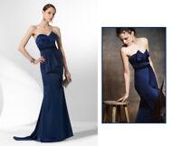 BCBG MAX AZRIA Midnight blue dress gown strapless evening Satin Anthropologie