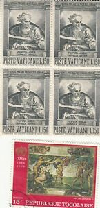 VATICAN CITY 1964. Block of Michelangelo Sistine Chapel MLH + Togo 1968. Used