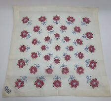 Vintage Burmel Pink White Floral Hankie of the Month Vogue (Rf899)