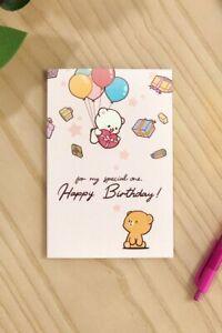 Milk Mocha Bear Happy Birthday Card [3 Colors Pink Teal Purple Cute] NEW