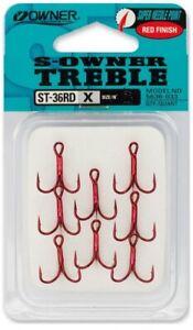 Owner Stinger ST-36RD X Red Finish Treble Hook Pike Rig Hooks Super Needle Point